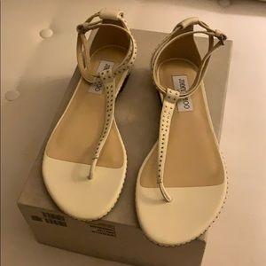 Jimmy Choo Afia Flat Sandals in Chalk/Silver